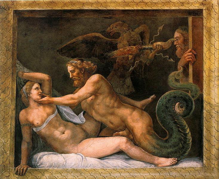 соблазнение царицы Олимпиады Зевсом