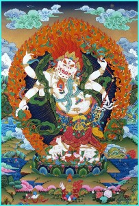 тханка Белый Махакала.Йога-тур в Гималаи.хатха-йога для начинающих